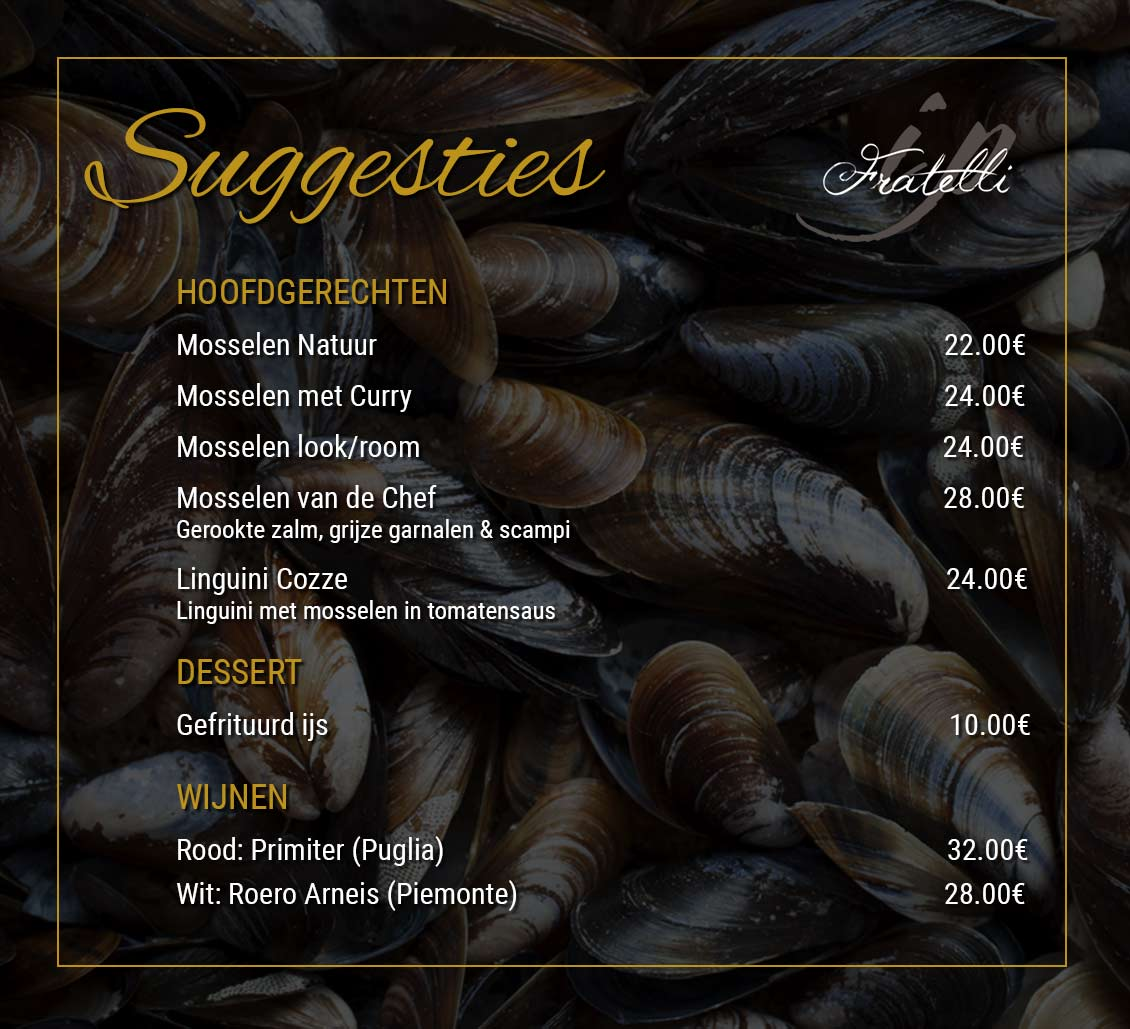 Zomer suggesties bij Fratelli - Mosselen