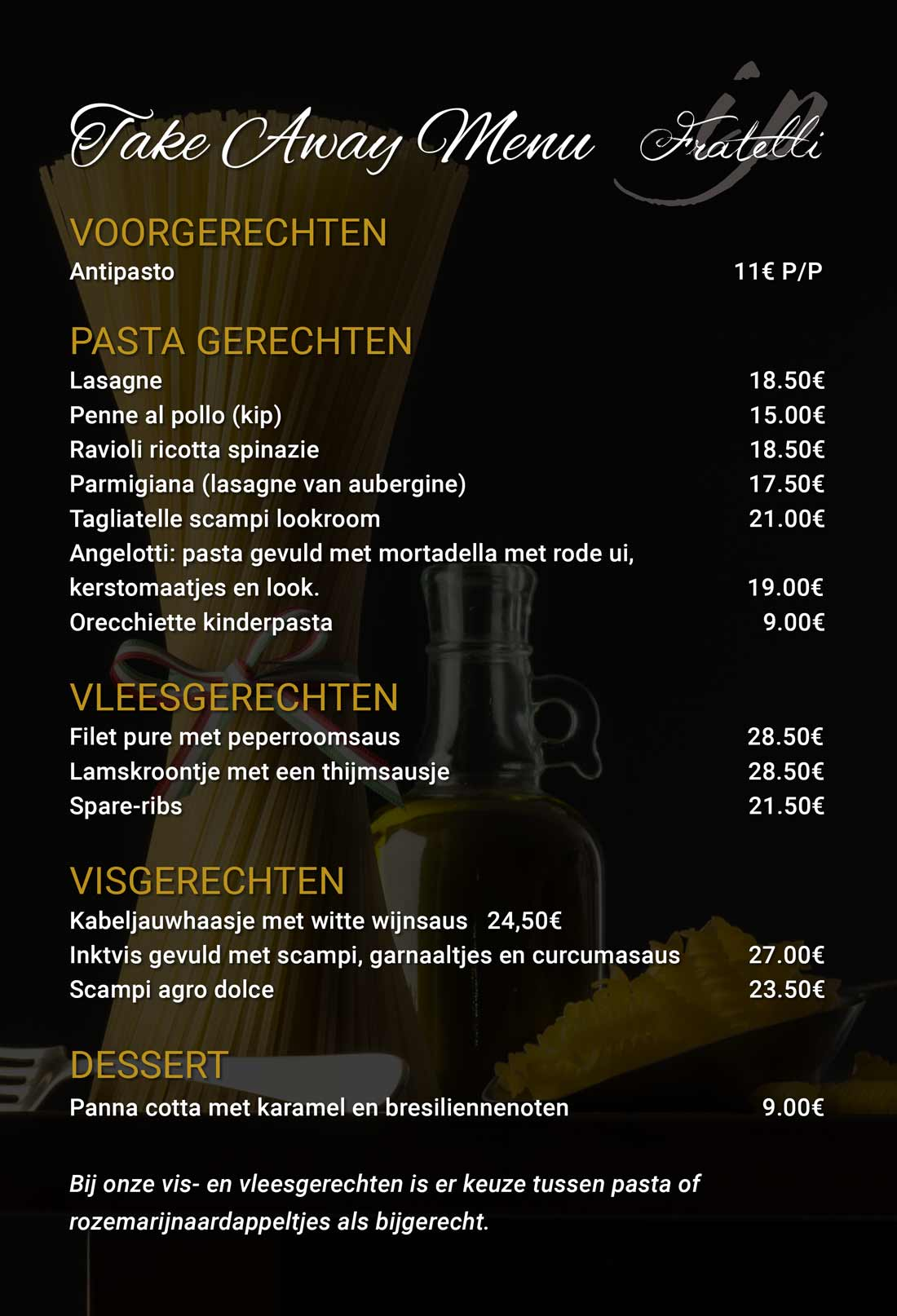Brasserie Fratelli - Take Away Menu - Houthalen