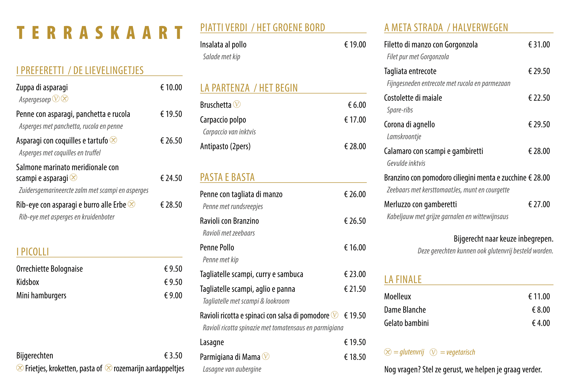 Brasserie Fratelli - Terras menu - Houthalen